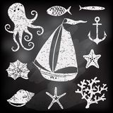 Silhouetoverzees - Hand getrokken reeks overzeese symbolen Stock Afbeelding