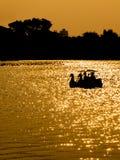 Silhouetpaar in de boot van het zwaanpedaal op zonsondergang Stock Afbeelding