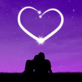 Silhouetpaar die hart bekijken Stock Fotografie