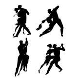 Silhouetpaar het dansen tango royalty-vrije illustratie