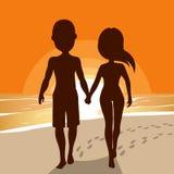 Silhouetpaar het Lopen vector illustratie