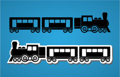 Silhouets de train et de chariot illustration de vecteur