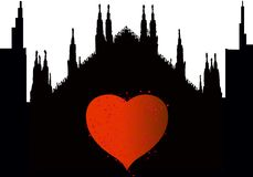 Silhouetstad van Milaan met hart royalty-vrije illustratie