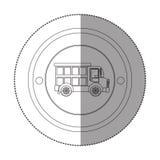 Silhouetsticker met cirkelvorm met stortplaatsvrachtwagen Stock Foto