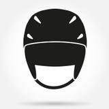 Silhouetsymbool van de Klassieke helm van de snowboardski Stock Foto