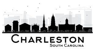 Silhouett in bianco e nero dell'orizzonte di Charleston South Carolina City illustrazione vettoriale
