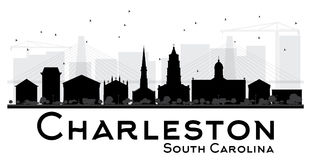 Silhouett blanco y negro del horizonte de Charleston South Carolina City ilustración del vector