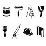 Silhouette à la maison de réparation d'icône Photographie stock libre de droits