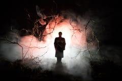 Silhouette étrange dans une forêt fantasmagorique foncée la nuit, lumières surréalistes de paysage mystique avec l'homme rampant  images stock