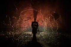 Silhouette étrange dans une forêt fantasmagorique foncée la nuit, lumières surréalistes de paysage mystique avec l'homme rampant  photos stock