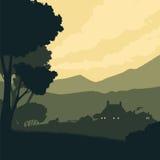 Silhouette ландшафт с фермой на предпосылке гор иллюстрация вектора