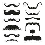 Silhouette битника волос усика вектора человек моды символа парикмахера и джентльмена бороды собрания черного белого курчавый Стоковое фото RF