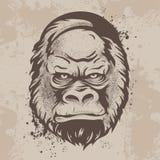 Silhouette гориллы рыльца, обезьяны в ретро стиле Стоковое Фото