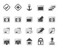 Silhouette значки применения, программирования, сервера и компьютера Стоковое Изображение RF