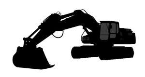 Silhouette копать экскаватором Стоковое фото RF