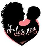 Silhouette мать и младенец с сердцем и помечать буквами я тебя люблю иллюстрация штока
