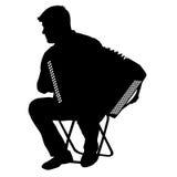Silhouette музыкант, игрок аккордеона на белой предпосылке, иллюстрации вектора иллюстрация вектора