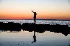 silhouette на море 2 Стоковые Фотографии RF
