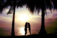 Silhouette положение пар, женщины и человека и будьте целующ перед морем для того чтобы иметь тень кокосовой пальмы Стоковое Изображение RF