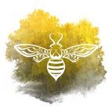 Silhouette пчела с желтой и черной предпосылкой акварели Стоковые Изображения