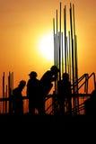 silhouette работники Стоковые Фото
