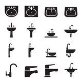 Silhouette раковина, таз мытья, комплект значка Faucet Стоковые Фотографии RF