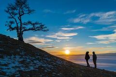 Silhouette сцена священного дерева на накидке Burkhan на острове Olkhon Стоковые Фотографии RF