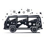 Silhouette фургон hippie, черный ретро фургон с различными деталями Стоковое Изображение RF