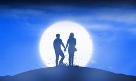 Silhouette человек и женщина пар держа руку совместно стоковые изображения rf
