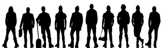 Silhouette of 10 people Royalty Free Stock Photos