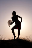 Silhouette. Girls against a decline Royalty Free Stock Photos