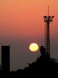 Silhouette. Sunrise cityscape royalty free stock photo