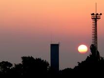 Silhouette. Sunrise cityscape royalty free stock image