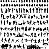 Silhouette. Black silhouette people on white background Royalty Free Stock Photos