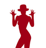 Silhouette. Of the girl in a hat Stock Photography