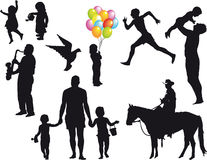 Silhouette. Various silhouette with children, fathers and children, cowboy, dove, runner and sax player Royalty Free Stock Photos