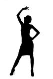 Silhouette. Of a dancing woman Stock Photo