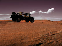 Silhouette. A Silhouette of a jeep on a rock - USA Royalty Free Stock Image