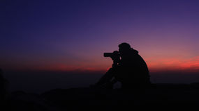 Silhouette. In the evening at Phu Kradueng National Park Royalty Free Stock Image