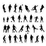 Silhouette 30 de joueur de football Image stock