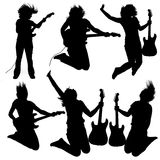 Silhouette. Collection of 6 silhouettes of a girl playing an electrical guitar Vector Illustration