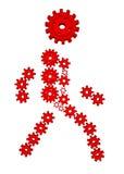 silhouette 3D des trains rouges Photographie stock
