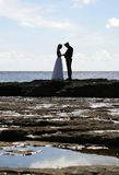 Silhouette.JH. Wedding at the coast.JH royalty free stock photos