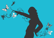 Silhouette. A female silhouette with butterflies Royalty Free Stock Photo