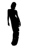 Silhouette. Of woman in evening dress Stock Images
