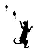 The silhouette. Of a black cat which hunts on mice Royalty Free Stock Images
