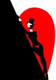 Silhouette. Of the beautiful woman in a hat against Royalty Free Illustration
