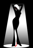 Silhouette. Of the harmonous woman on a black background Stock Photography