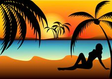 Silhouette. Of two girl on a beach Stock Illustration