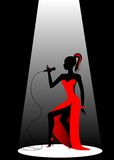 Silhouette. Of the beautiful girl singing on a scene Royalty Free Illustration